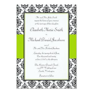 Convite do casamento tema damasco do preto e do
