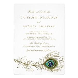 Convite do casamento vintage da pena do pavão