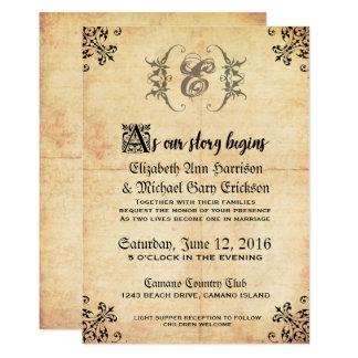 Convite do casamento vintage do conto de fadas