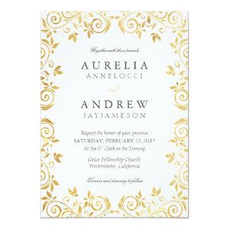 Convite do casamento vintage do ouro