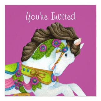 Convite do cavalo do carrossel de Gayle Convite Quadrado 13.35 X 13.35cm