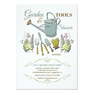 Convite do chá das ferramentas de jardim