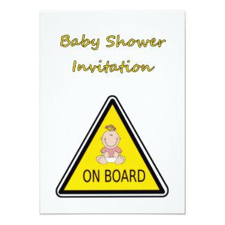 Convite do chá de fraldas com bebé a bordo convite 12.7 x 17.78cm