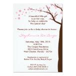 convite do chá de fraldas da árvore da flor de convite 12.7 x 17.78cm