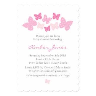 Convite do chá de fraldas da borboleta - rosa