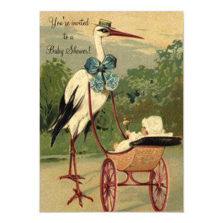 Convite do chá de fraldas da cegonha do Victorian