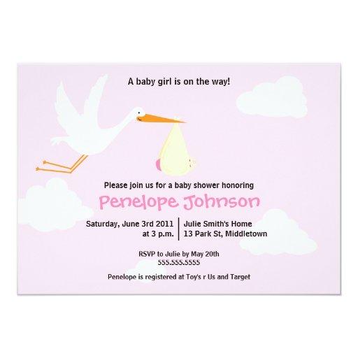 Convite do chá de fraldas da cegonha - menina
