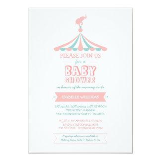 Convite do chá de fraldas da cerceta do rosa do convite 12.7 x 17.78cm