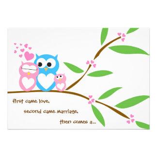 Convite do chá de fraldas da coruja do bebé