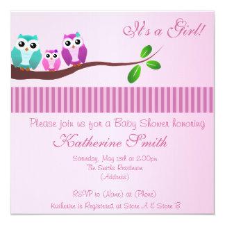 Convite do chá de fraldas da coruja no rosa