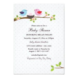Convite do chá de fraldas da família de pássaro