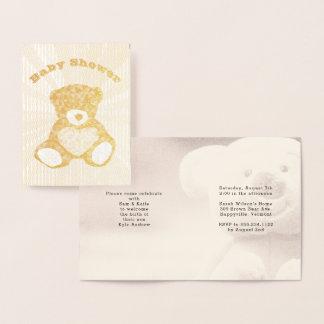 Convite do chá de fraldas da família do urso de