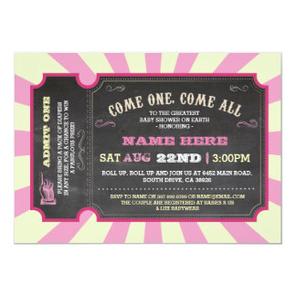 Convite do chá de fraldas da menina do rosa do
