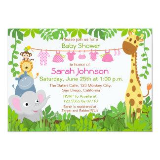 Convite do chá de fraldas da menina do safari dos convite 12.7 x 17.78cm