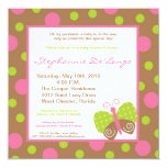 convite do chá de fraldas da polca da borboleta do convite quadrado 13.35 x 13.35cm
