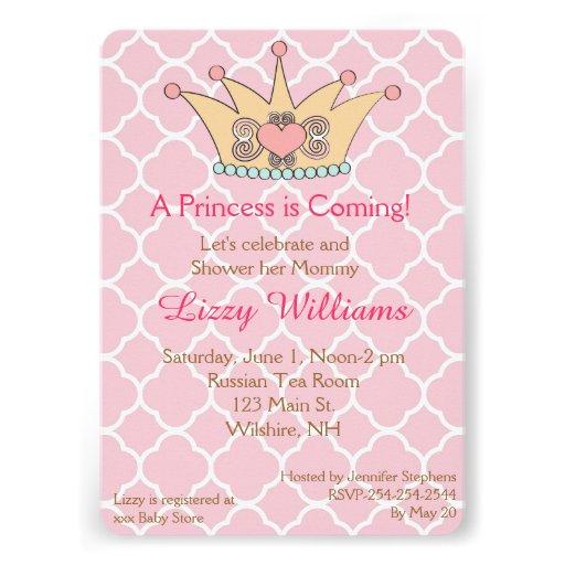 Convite do chá de fraldas da princesa Coroa