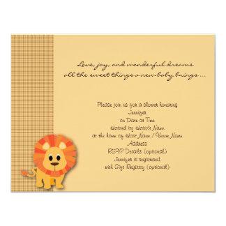 Convite do chá de fraldas da xadrez do leão do