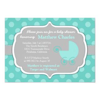 Cartão Convite do chá de fraldas das bolinhas da cerceta