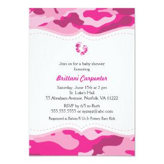 Convite do chá de fraldas de Camo do rosa quente