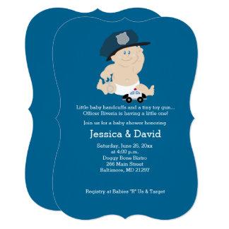 Cartão Convite do chá de fraldas do agente da polícia da