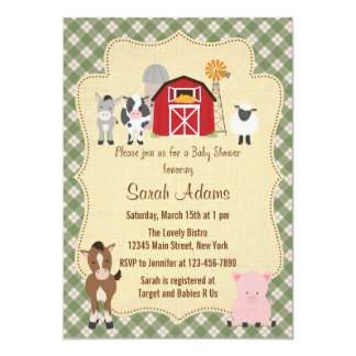 Convite do chá de fraldas do animal de fazenda