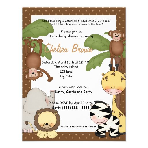 Convite do chá de fraldas do aniversário do safari