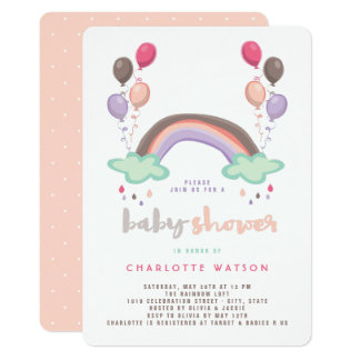 Convite do chá de fraldas do arco-íris & da menina