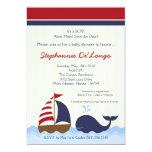 convite do chá de fraldas do barco da baleia de
