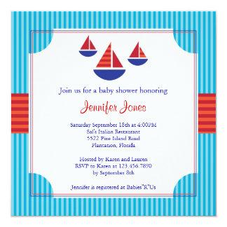Convite do chá de fraldas do barco de vela