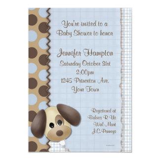 Convite do chá de fraldas do cão de filhote de convite 12.7 x 17.78cm
