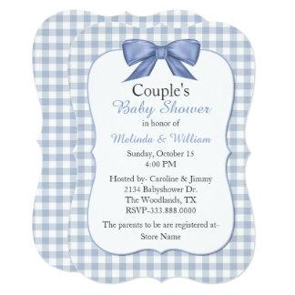 Convite do chá de fraldas do casal azul do guingão