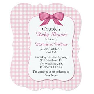 Convite do chá de fraldas do casal cor-de-rosa do