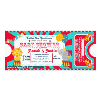 Convite do chá de fraldas do circo - raffle da