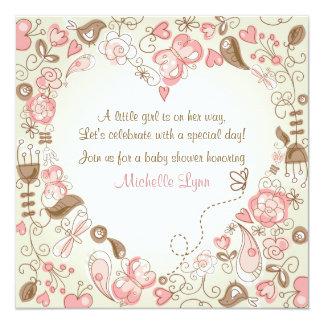 Convite do chá de fraldas do coração do jardim convite quadrado 13.35 x 13.35cm