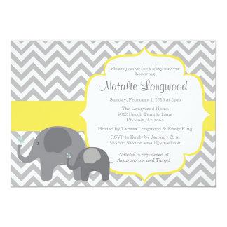 Convite do chá de fraldas do elefante, amarelo da