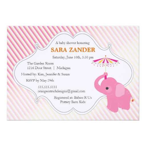 Convite do chá de fraldas do elefante cor-de-rosa