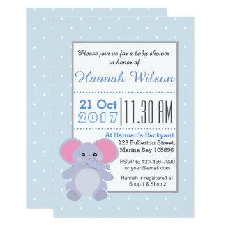 Convite do chá de fraldas do elefante dos azuis
