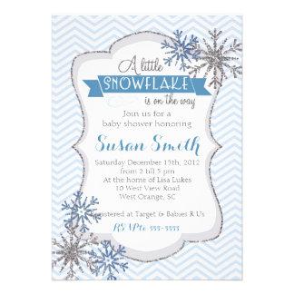 Convite do chá de fraldas do floco de neve do