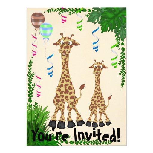 Convite do chá de fraldas do girafa do safari
