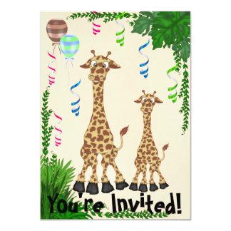 Convite do chá de fraldas do girafa do safari convite 11.30 x 15.87cm
