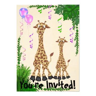 Convite do chá de fraldas do girafa do safari para