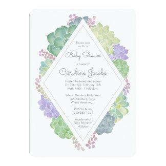 Convite do chá de fraldas do jardim dos Succulents