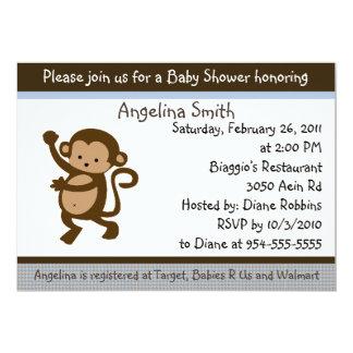 Convite do chá de fraldas do macaco da dança