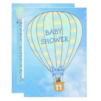 Convite do chá de fraldas do menino do balão de ar