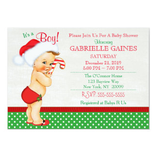 Convite do chá de fraldas do menino do Natal