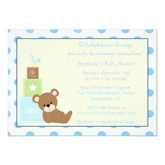 Convite do chá de fraldas do menino do urso e do