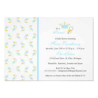 Convite do chá de fraldas do menino - príncipe