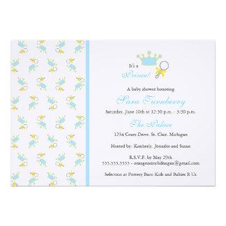 Convite do chá de fraldas do menino - príncipe peq