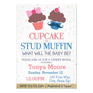 Convite do chá de fraldas do muffin do cupcake ou