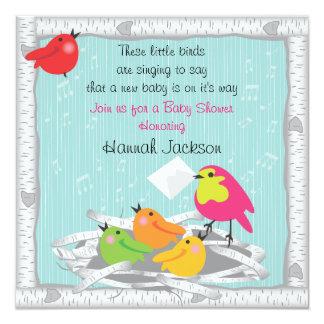 Convite do chá de fraldas do ninho de pássaro de